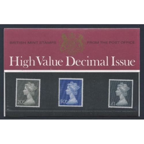 1971 Machin High Values 20p - £1 Presentation Pack. (No.38)
