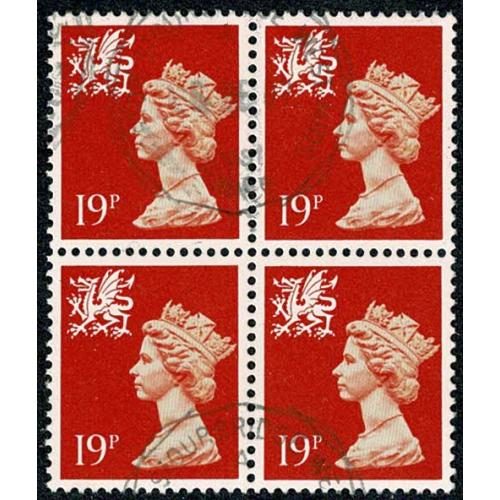 Wales. 19p orange red. ACP. Fine used block of four.
